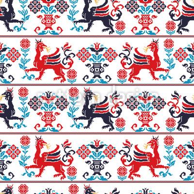 Hungarian Mythology Seamless Vector Pattern Design