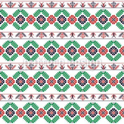 Bordure húngaro costurado Design de padrão vetorial sem costura