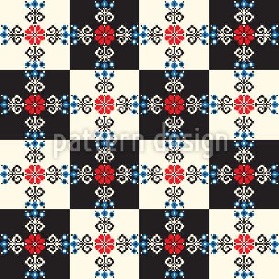 Quadro de xadrez húngaro Design de padrão vetorial sem costura