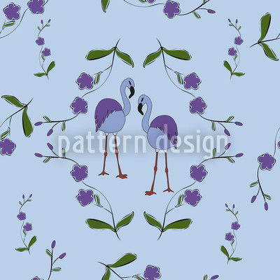 Flamingos Under Blossoms Design Pattern