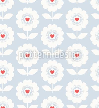 Herz-Blüten Nahtloses Muster