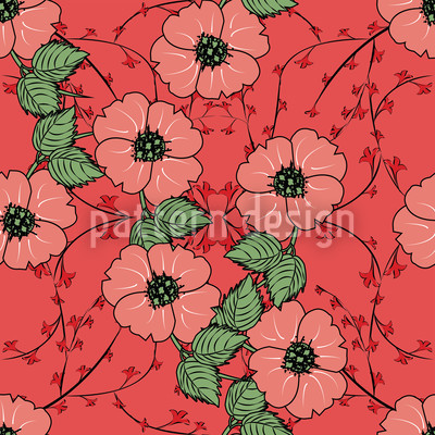 Red flowers with leaves Vector Pattern