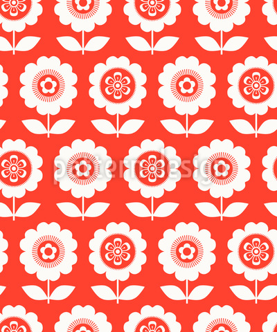 Flor em vaso dos anos sessenta Design de padrão vetorial sem costura