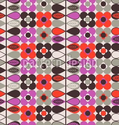 Stilisierte Flora-Bordüre Rapportiertes Design