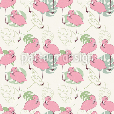 Flamingos And Tropical Leaves Repeat Pattern