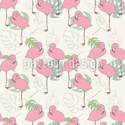 Flamingos und tropische Blätter Nahtloses Vektormuster