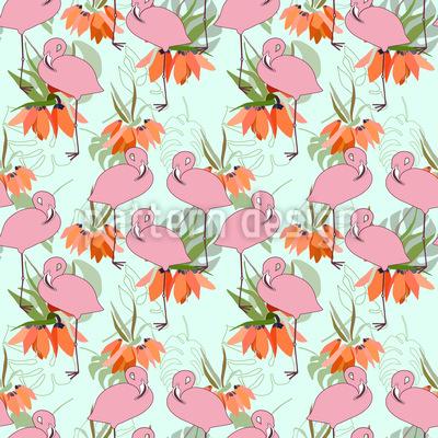 Flamingos und tropische Pflanzen Musterdesign