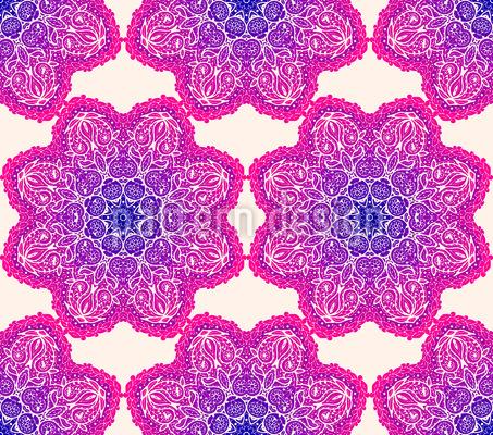Leuchtende Mandala Blumen Nahtloses Vektor Muster