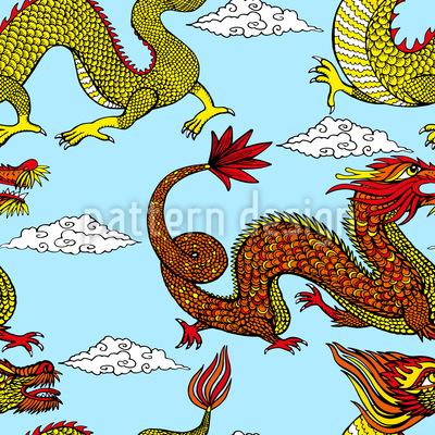Asiatische Drachen Rapportmuster