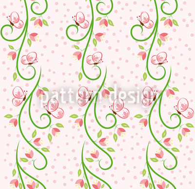 Butterfly Visit Bordure Seamless Vector Pattern Design