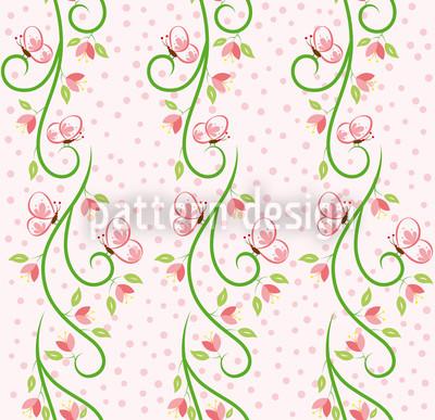 Schmetterling Besuch Bordüre Muster Design