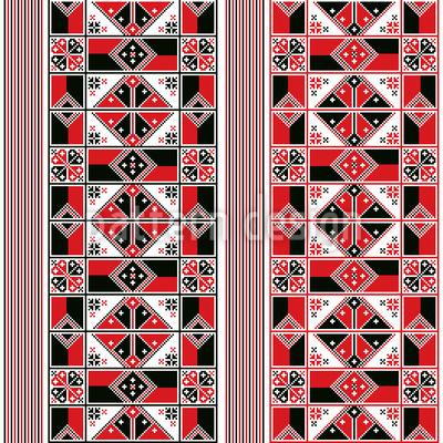Bordado húngaro Design de padrão vetorial sem costura