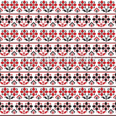 Traditionelle rumänische Stickerei Nahtloses Muster