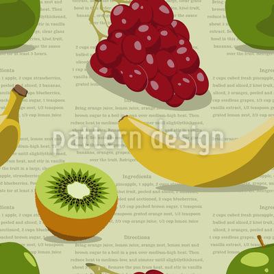 Salada de frutas Design de padrão vetorial sem costura