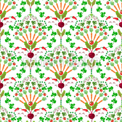 Vegetable Bouquets Seamless Vector Pattern Design