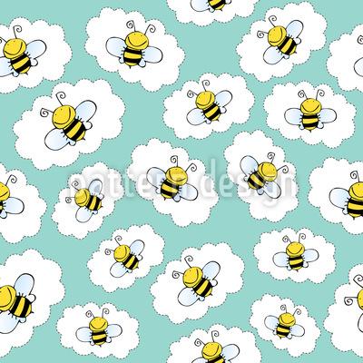 Happy Bees Sticker  Seamless Vector Pattern Design