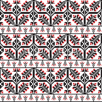 Folkart romeno Design de padrão vetorial sem costura