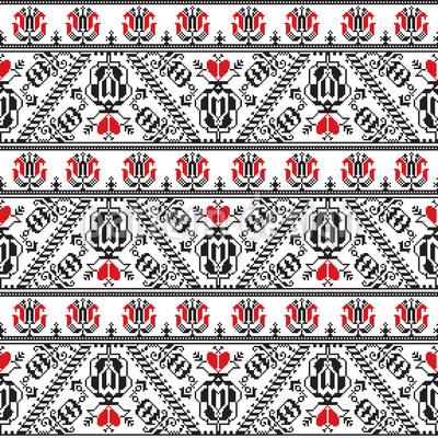 Bordure tradicional romeno Design de padrão vetorial sem costura
