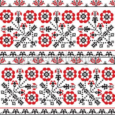 Bordado Floral Romeno Design de padrão vetorial sem costura