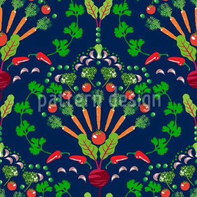 Vegetable Mosaic Seamless Vector Pattern Design