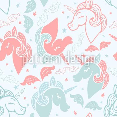 Dreamy Unicorns Seamless Vector Pattern Design