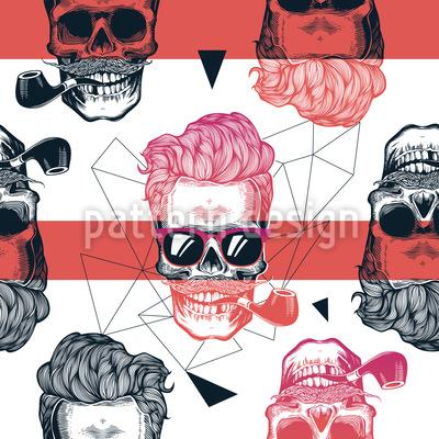 Crânio de aparência legal Design de padrão vetorial sem costura