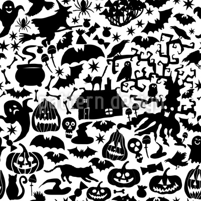 Haunted House Seamless Pattern