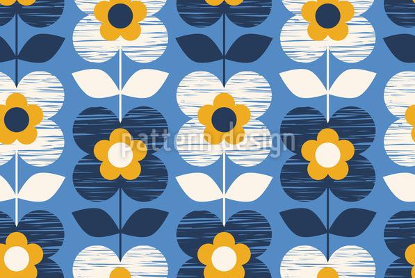 Handgezeichnetet Retro Blüten Vektor Design