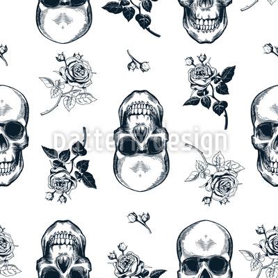 Schädel und Rosen Musterdesign