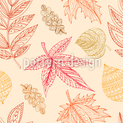 Decorative Autumn Leaves Seamless Vector Pattern