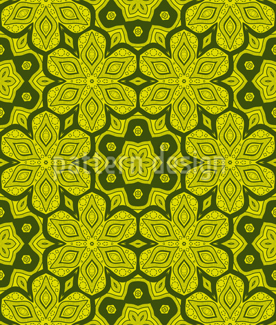 Floral in Hexagons Repeating Pattern