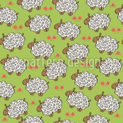 Ovelhas no Prado Design de padrão vetorial sem costura