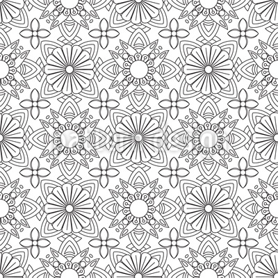 Symmetric Zentangle Seamless Vector Pattern Design
