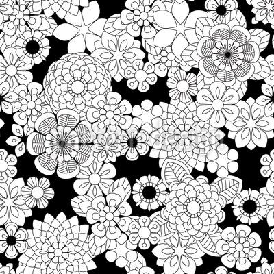 Zentangle Blumen Rapportmuster
