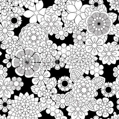 Zentangle Flowers Repeat Pattern