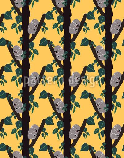 Kolonie von schlafenden Koalas Nahtloses Muster