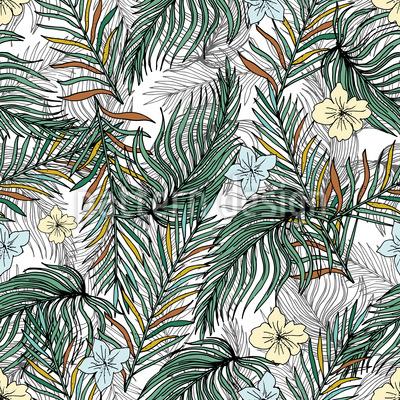 Tropische Palmblätter und Blüten Nahtloses Vektormuster