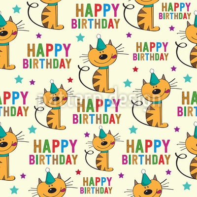 Happy Birthday Cats Design Pattern