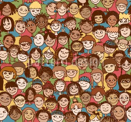 Multidão De Crianças Design de padrão vetorial sem costura