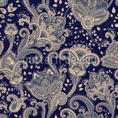 Paisley Florescence Seamless Vector Pattern Design