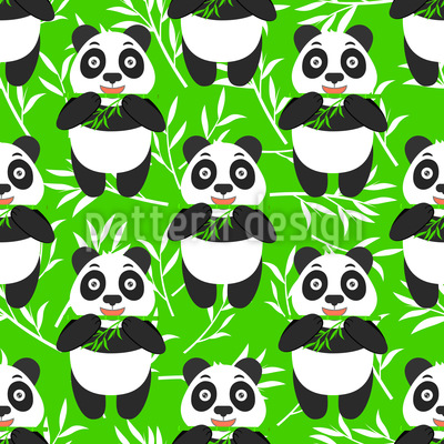 Panda Isst Bambus Designmuster