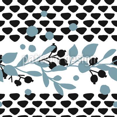 Handdruck Beeren Zweige Rapportmuster