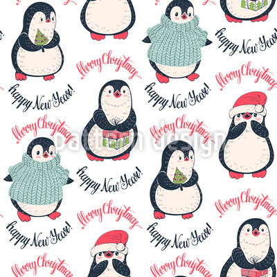 Winter Pinguine Vektor Muster