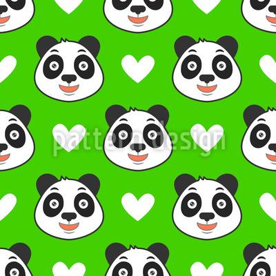 Chinesischer Panda und Herzen Designmuster