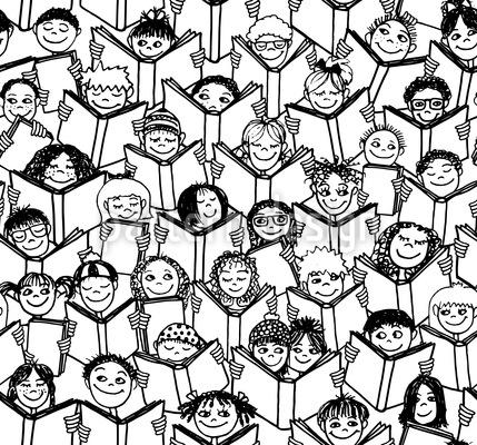 Lesende Kinder Vektor Muster