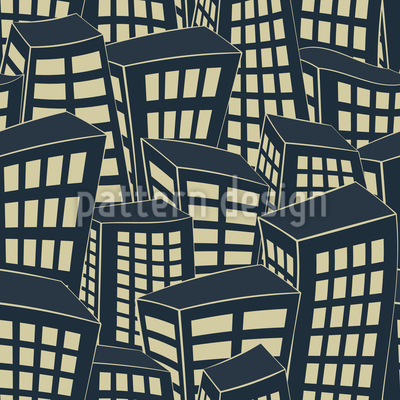 Illuminated City Seamless Vector Pattern Design