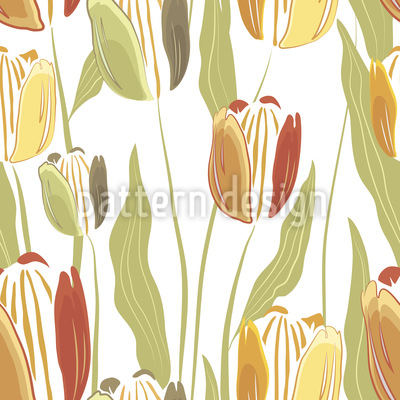 Filigree Painted Tulip Seamless Vector Pattern Design