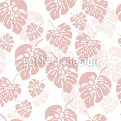 Girlish Monstera Palm Leaves Seamless Vector Pattern Design