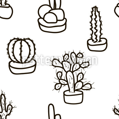 Small and Large Cactus Seamless Vector Pattern Design
