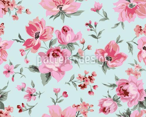ヴィンテージのバラの花 シームレスなベクトルパターン設計